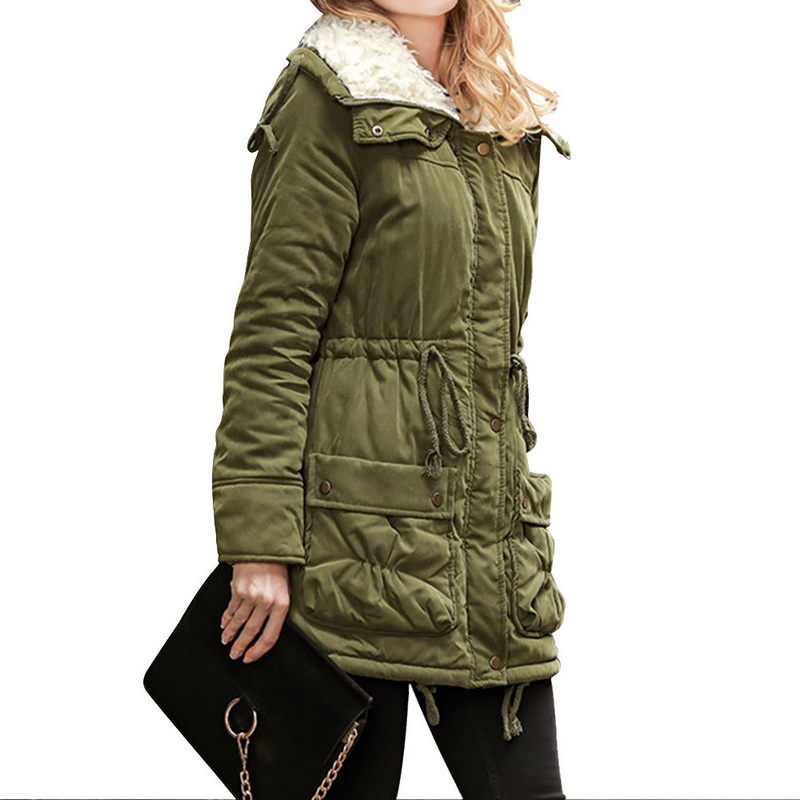 Winter Jacket Coat Women Lace Up Tunic Warm Plus Size Hooded Jackets Vintage Solid Outwear Parka Fashion Pockets Tops Femme 1