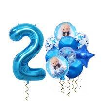 Bebê chefe balões com 40 polegada azul número baloon pequeno menino bebê chefe festa de aniversário decoração 1st um ano de idade