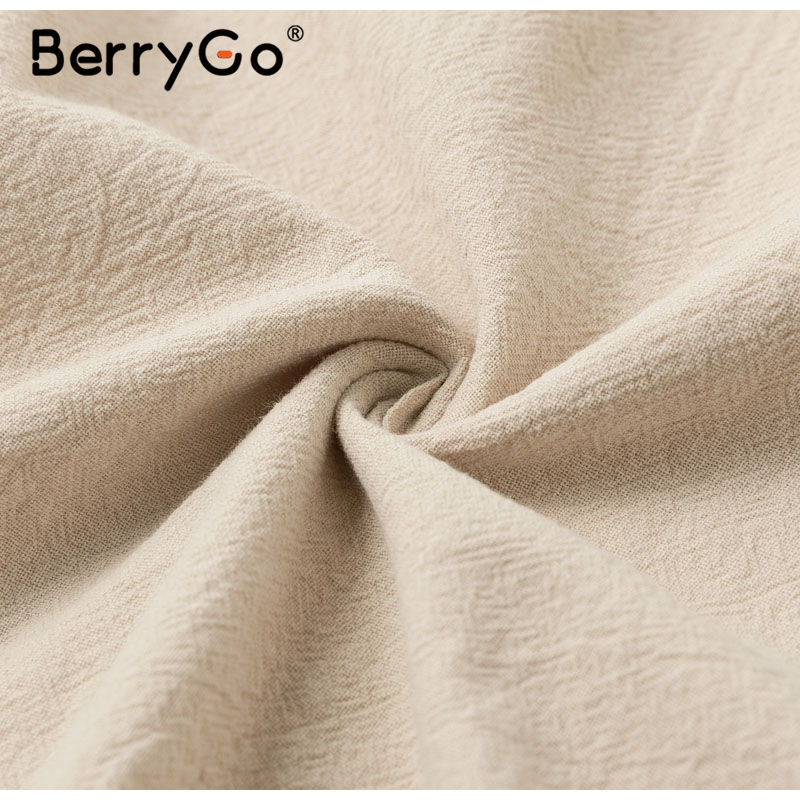 BerryGo Elegant buttons puff sleeve cotton women dress V-neck female khaki summer dress casual Office work ladies midi dresses