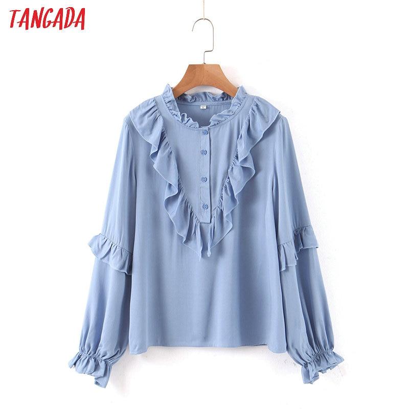 Tangada Women Ruffle Blue Shirts Long Sleeve Solid O-neck Elegant Office Ladies Work Wear Blouses SL212