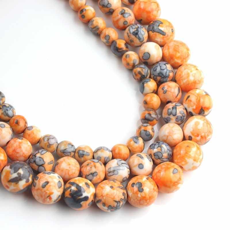 4 ミリメートル-12 ミリメートル天然石オレンジブルー斑点の雨の花天然石ジャスパーラウンドビーズジュエリー作成 Diy のためネックレスブレスレット 15 インチ