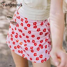 Fargeous 女の子の花のピンクミニスカート夏の女性のカジュアルビーチホリデーショートスカート女性のセクシーなボディコンサテンスカート
