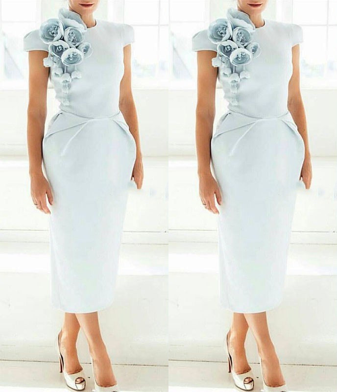 New Arrival Cap Sleeves Tea Length Light Blue Women Dress With Flowers Short Sleeves Formal Mother Evening Dress 2020 Prom Party