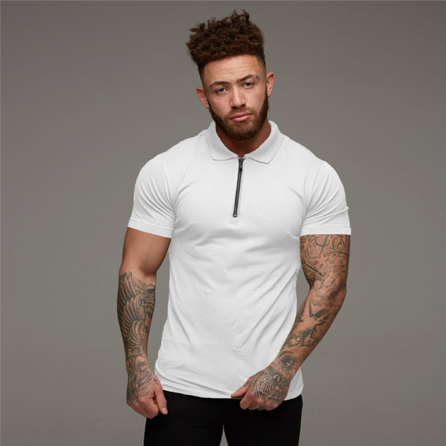 Muscleguys-Polo de moda para hombre, camisa informal de manga corta de Color liso, ajustada, de alta calidad, para Fitness 4