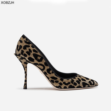Italian Wedding Leopard Shoes Women Pumps 2019 Luxury Brand Designer High Heels Ladies Rhinestone Party Shoes Woman plus Size 43 недорого