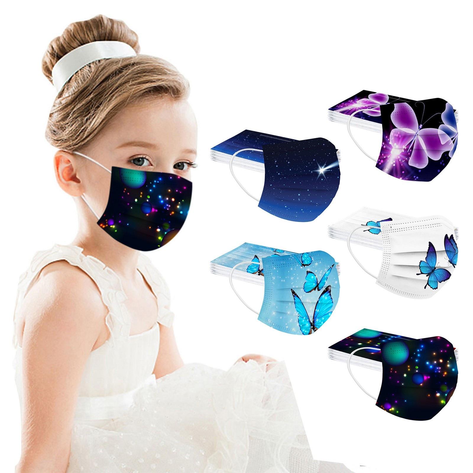 50 шт. детская маска с изображением бабочек; Маска для лица 3 слоя одноразовые защитные маски для лица петли уха дышащая маска