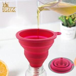 EHZ 2 шт./компл. силиконовая воронка Складная воронка выдвижной портативный масленка жидкая Воронка для порошков креативный кухонный инструм...
