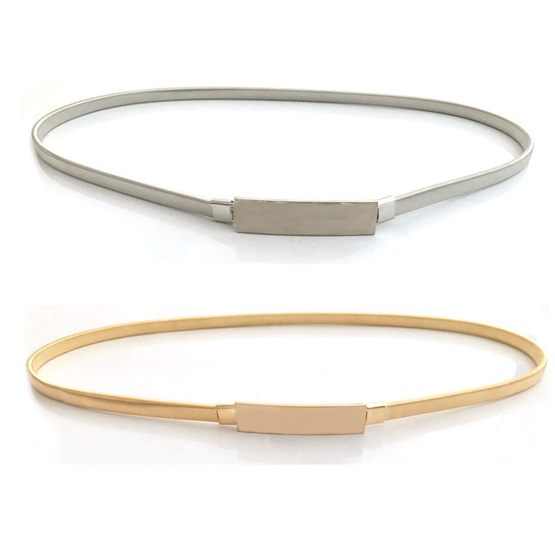 Elastic Women Belts Gold Silver Chain Waist Belts Metal Plate Female Dress Belts High-Quality Thin Stretch Belts Belt