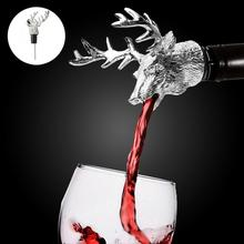 цена на Creative Deer head design bottle pourer unique stylish Design Red Wine Bottle Metal Pourer Stopper Kitchen Bar Tool 11.8cm x 8cm