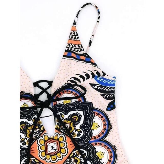 2020 nadruk w stylu Vintage jednoczęściowy strój kąpielowy kobiety stroje kąpielowe obcisłe body strój kąpielowy Push Up Monokini letnie kostiumy kąpielowe bikini