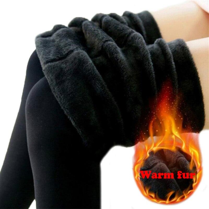 2019 Winter Elastic Women's Warm Leggings Thicken Fur Warm Women High Waist Pants Plus Velvet Leggings