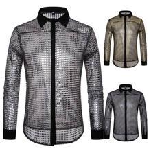 Neue Pailletten mode herbst Herren Casual Transparent winter Langarm Slim Fit Polka-dot Schuppig Dance Kleid Hemd S-2XL