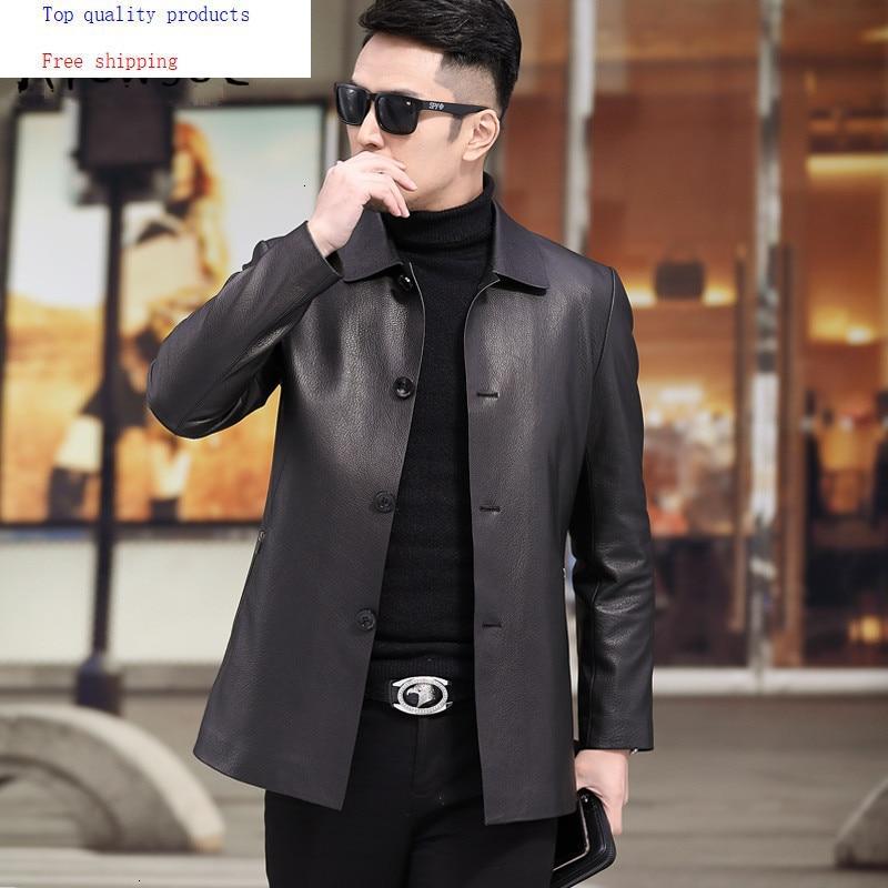 Men's Leather Jacket Goatskin Genuine Leather Coats Men 2020 Short Casual Spring Autumn Leather Jackets A19-2827 YY306
