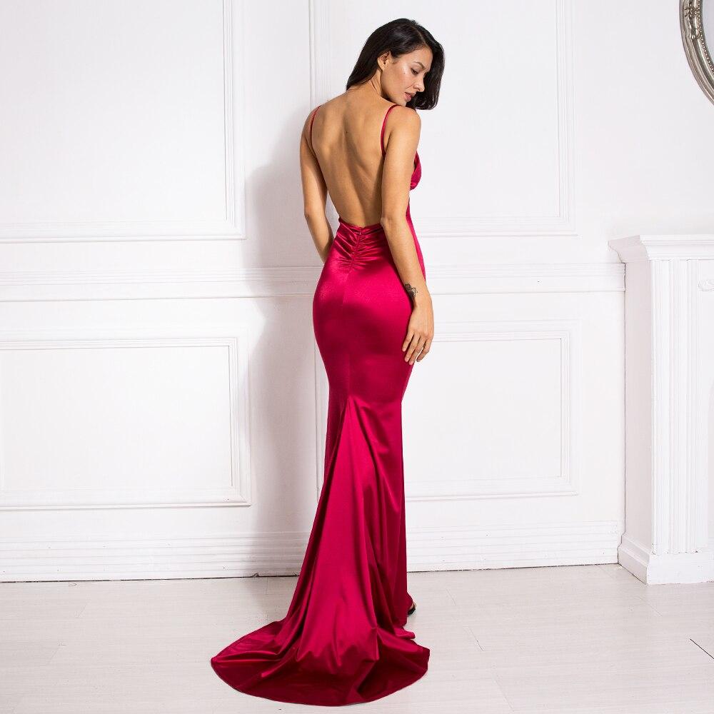 Deep V-Neck Burgundy Satin Mermaid Open Back Long Evening Dress 6
