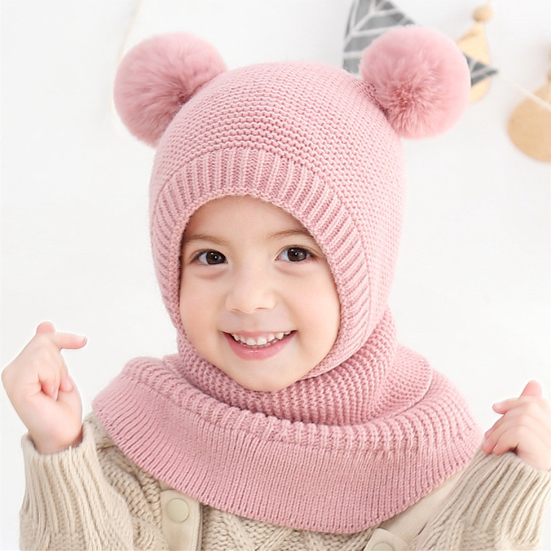 Knit Wool  Warm Children Hats Scarf Set  Autumn  Winter Girls Korean Double Ball Ear Cap 2-6years Old