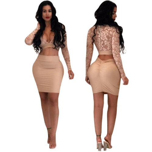 Women Sexy Bodycon Long Sleeve Cocktail Lace Mini Dress 2020 Hot Sale Lace V Neck Long Sleeves Crop Top+Mini Skirt 2Pcs Set New