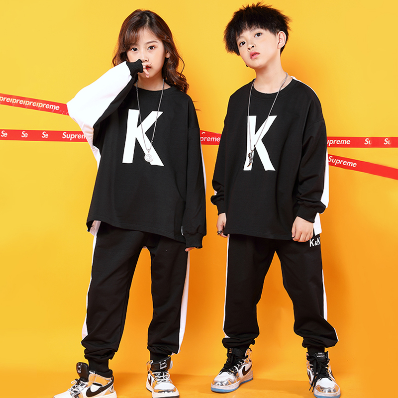 Fashion Hip Hop Dance Costumes Kids Street Dance Rave Outfit Practice Wear Stitching  Jazz Stage Performance Clothing DC3215