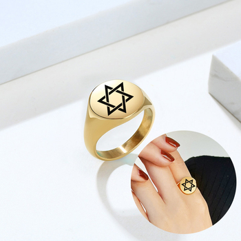 Men Signet Ring Simple Engrave Star of David Stainless Steel Seal Polished Round Rings for Women Male Wholesale