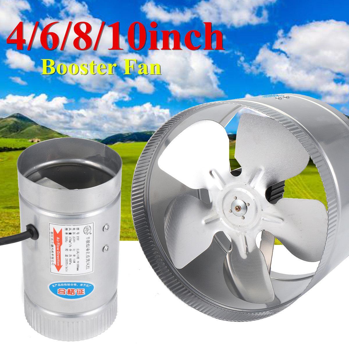 Metal Booster Fan Ventilator 4/6/8/10 Inch Inline Air Ducting Fan Blower Intake Out-Take Vents Kitchen Bathroom Ventilation