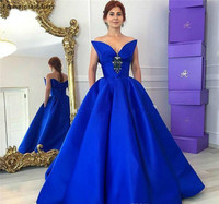 Royal Blue Prom Dress Cheap Unique Design Pockets Backless Formal Summer Holidays Wear Evening Party Gown Custom Made Plus Size