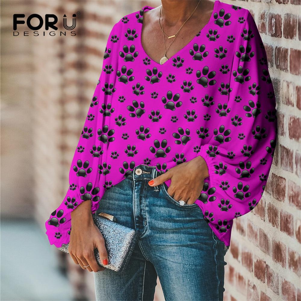 FORUDESIGNS Drop Ship 1PCS Paw Theme Pattern Design Female Clothes Daily Casual Women Loose Chiffon Blouse V-Neck Shirts Beach 2