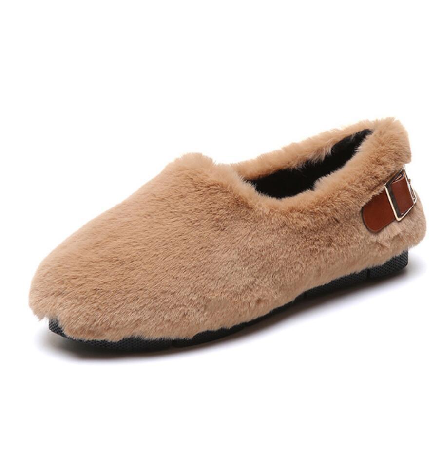 long fur flats women slip on winter shoes with plush flat heel moccasins ladies Belt buckle fur mules designer furry loafers 47