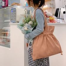 Women Corduroy Shoulder Bags Large Capacity Drawstring Canvas Cloth Handbag Tote Big Eco Shopping Bag College School Books Bag