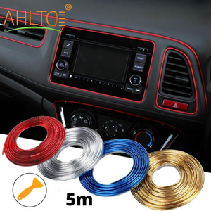 1pcs 5M Adhesive Dome Strips Car Interior Decoration Molding Door Red Gold Line Vent Panel Direction-Flexible Wheel Car Styling
