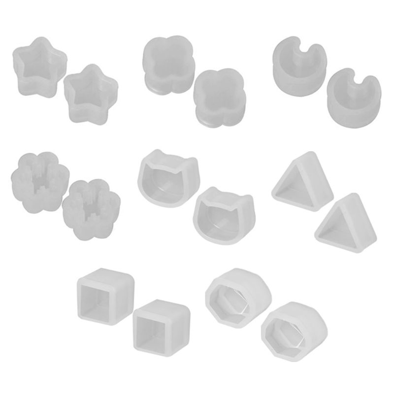 8 Pair/set UV Resin Silicone Molds DIY Crystal Epoxy Mold Small Earrings Stud Making Mould T4MD
