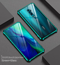 Luxury Magnetic Bumper,Cover For OPPO Reno 10X Zoom Phone Frame Metal Shockproof Armor Clear Glass Back Cover Case