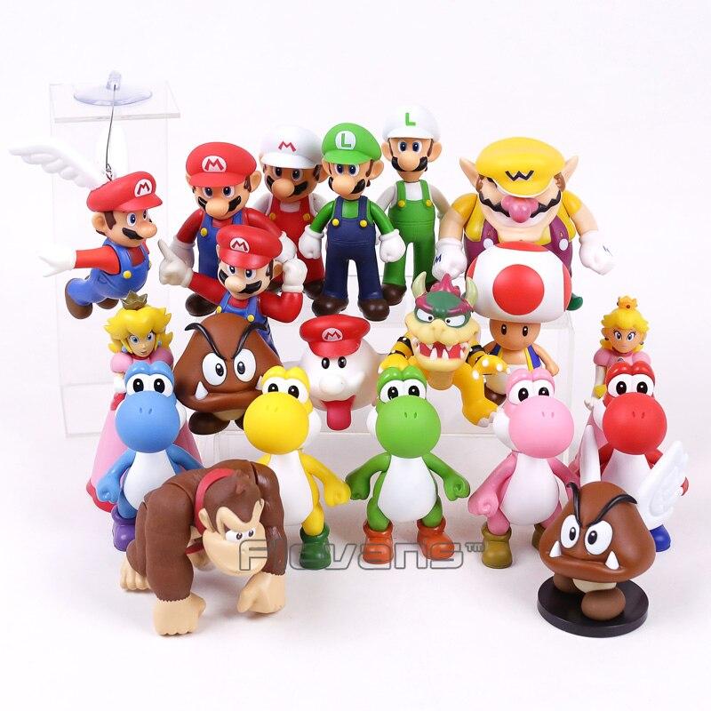 Игрушечная фигурка Super Mario Bros из ПВХ, игрушка Марио, Луиджи, Wario, Йоши, персик, Жаба, Ослик, Kong, Bowser, Boo, Goomba