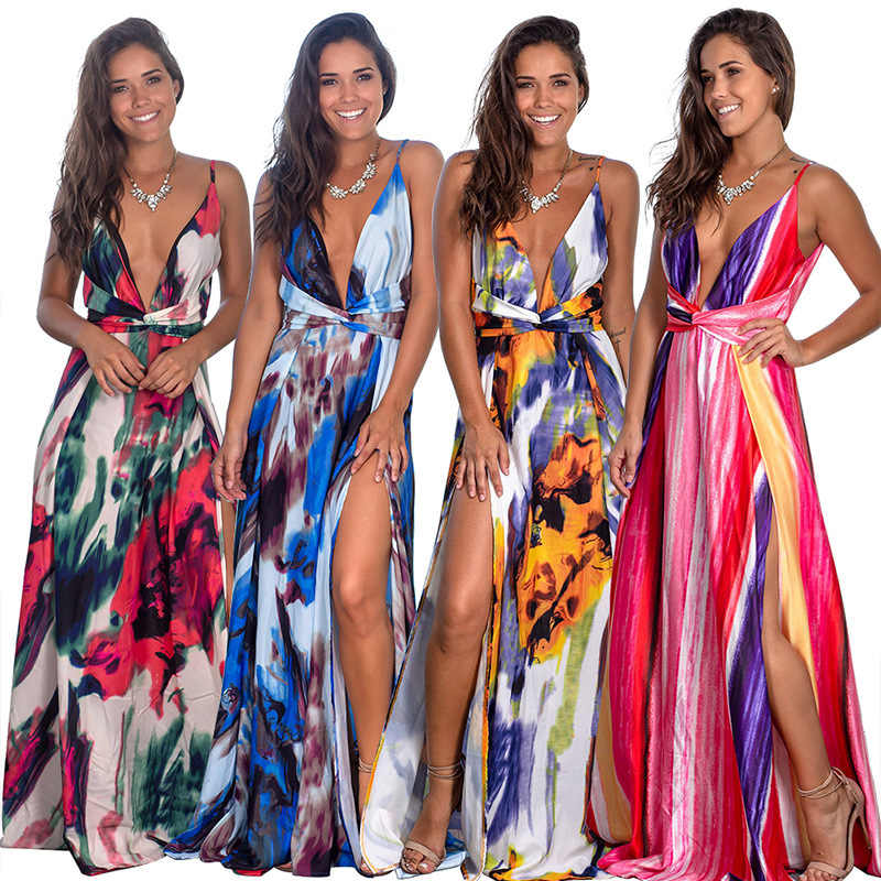2020 Abito di Primavera Floreale Sexy Maxi Vestito Lungo Pieghettato Abiti Backless Robe Femme Scollo a V Lungo Pranzo Della Sera Del Vestito