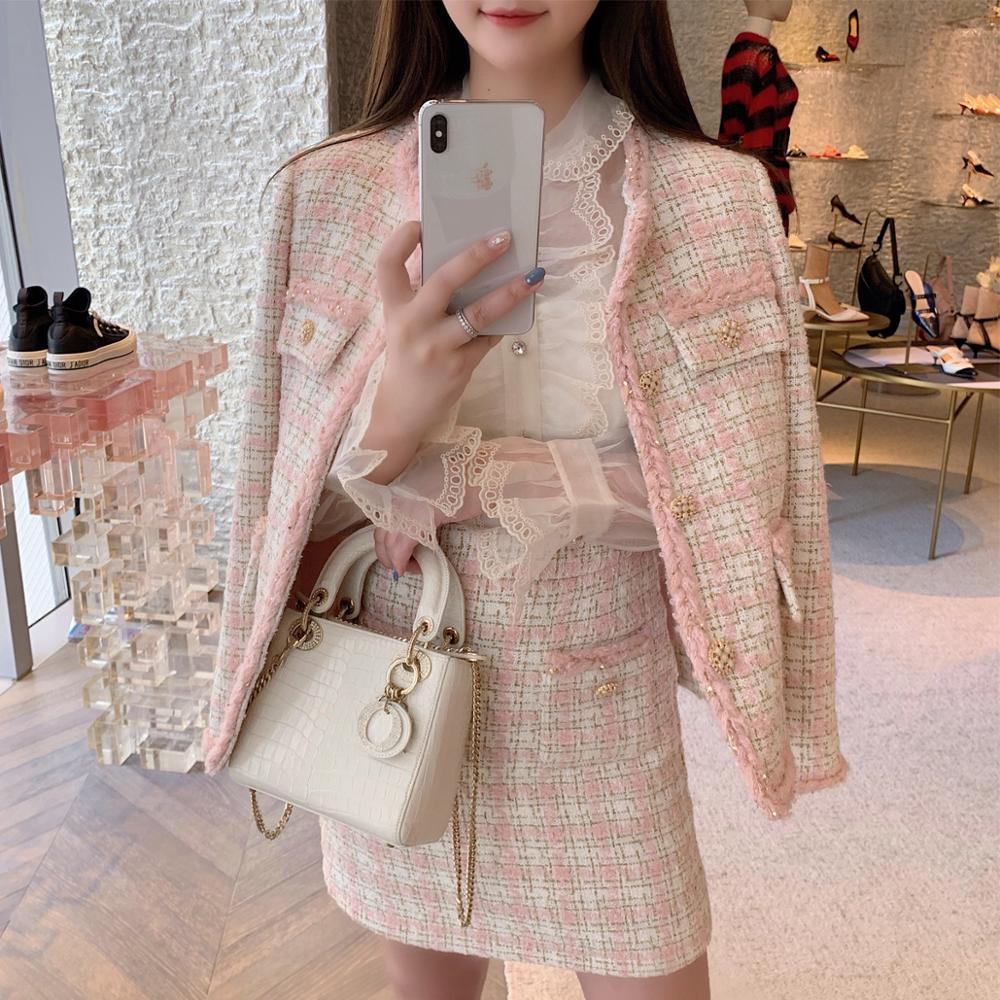 High Quality Spring Autumn Tweed Pink Outfits Full Sleeve Vintage Coat Jacket+Short Plaid A Line Skirt Korean 2 Piece Set Women