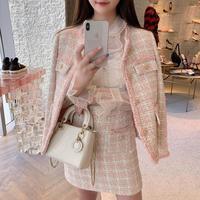 High Quality Spring Autumn Tweed Pink Outfits Full Sleeve Vintage Coat Jacket+Short Plaid A Line Skirt Korean 2 Piece Set Women