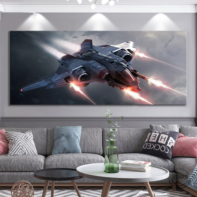 Star Citizen Video Games Art Wall Decor Paintings Spaceship Star Wars Movie Poster Art Canvas Paintings Wall Art Home Decor image