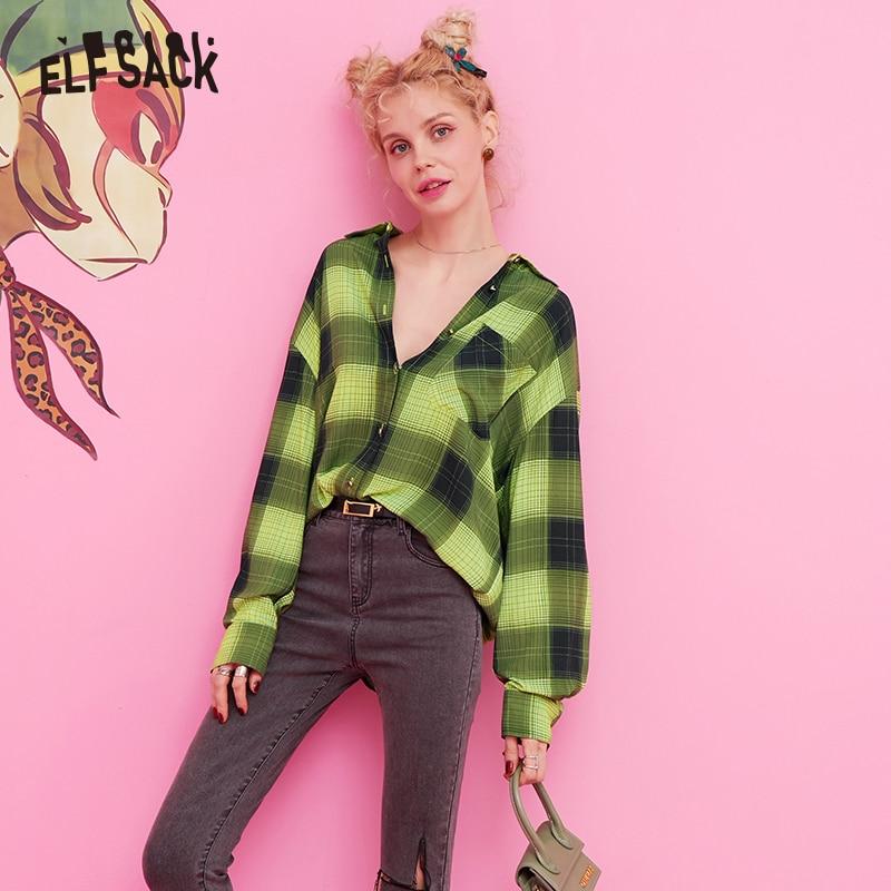 ELF sac Plaid rayé Carton imprimé blouse décontractée chemise haut pour femme 2019 automne vert à manches longues Vintage dames Blouses - 2