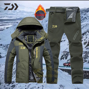 Men Suit for Fishing Jacket Waterproof Windproof Warm Thick Pants Fishing Shirt Sports Fishing Suit Winter Men Fishing Wear