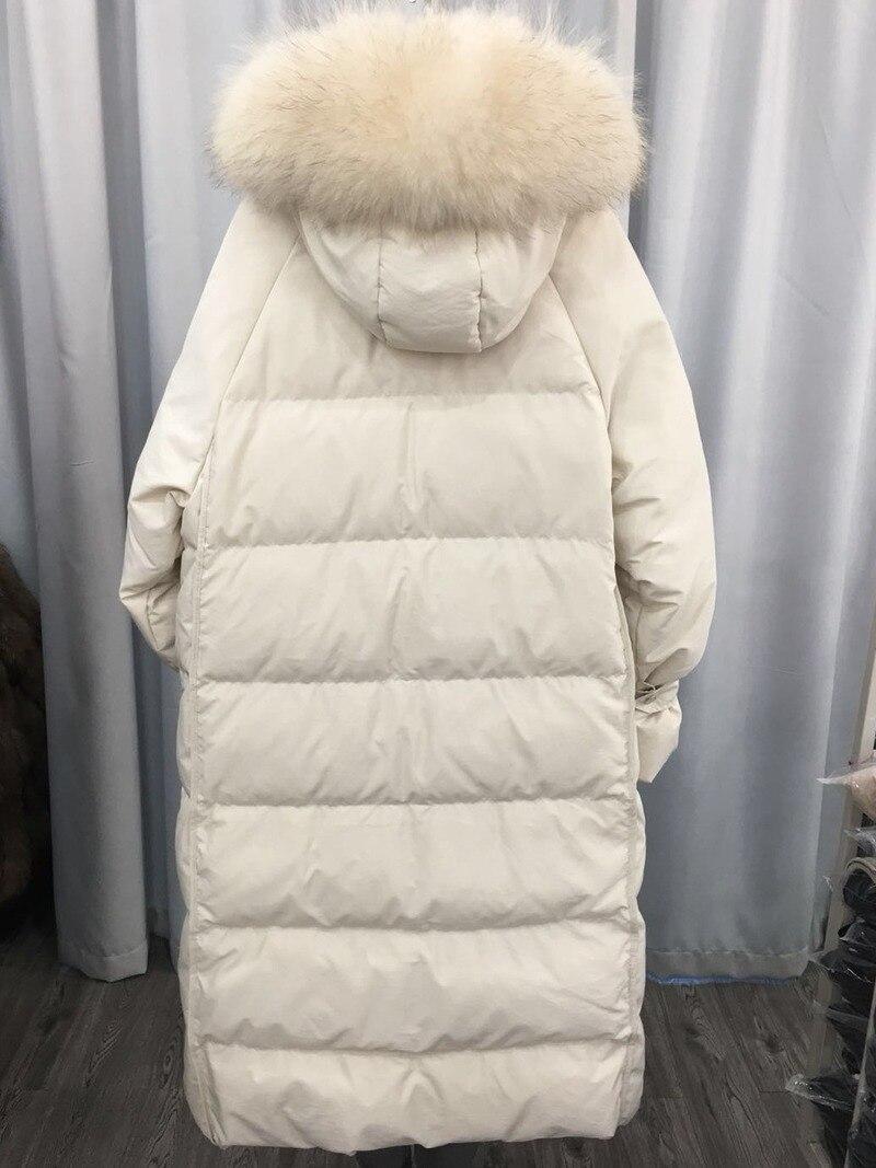 AYUSNUE Long Duck Down Jacket Women Hooded Winter Coat Women Real Raccoon Fur Collar Korean Warm Puffer Jacket 2020 KJ3229