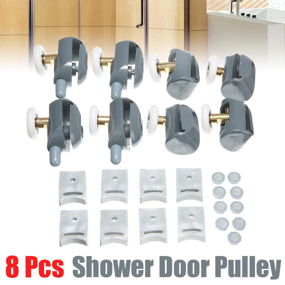 8Pcs/set Roller Wheels Bathroom Roller Wheel Runner Shower Room Accessories Bearing Roller Wheel With Block Set 23mm