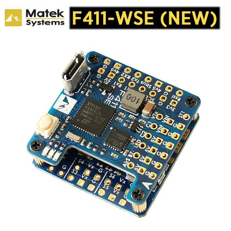 Matek Mateksys F411-WSE Flight Controller & BEC 5V Output Built-in 2-6S ESC 78A Current Senor For RC Drone Wing RC FPV Airplane image