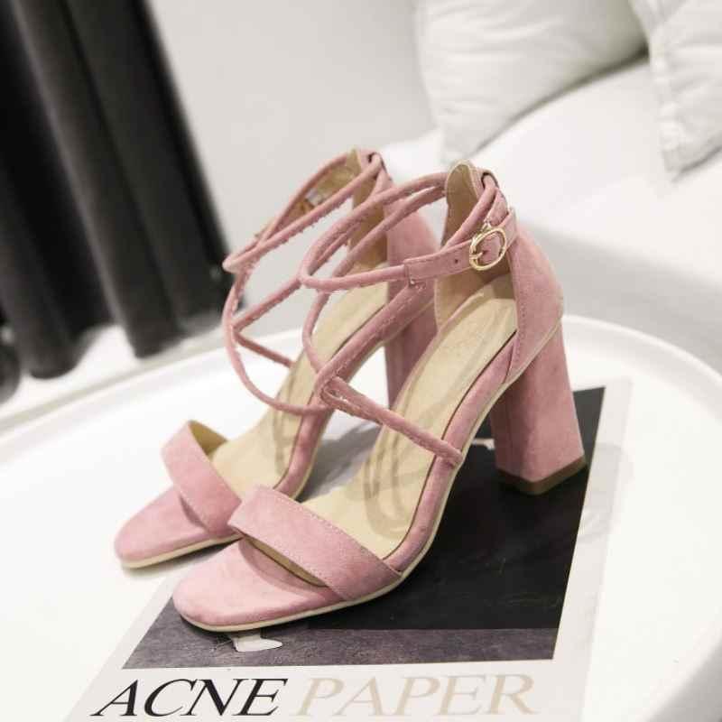 KemeKiss נשים גבוהה עקב סנדלי צלב רצועת קיץ נעלי נשים אבזם עבה עקבים סקסי מסיבת חתונת Bridals נעלי גודל 33-43