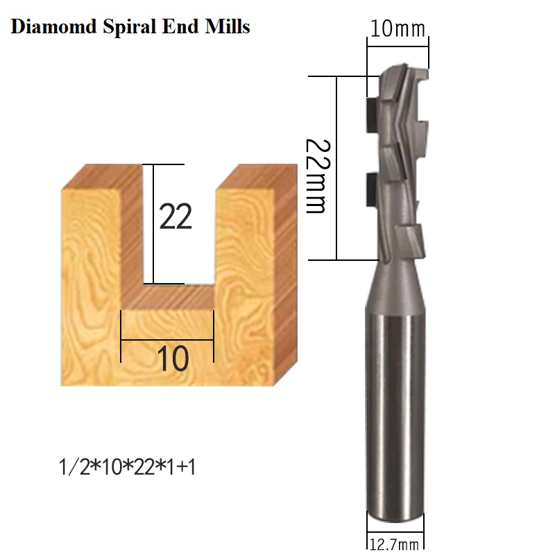 Diamond PCD woodworking cnc milling cutter two flute spiral Shank Cleaning Bottom Endmill wood turning tools CVD Slotter router