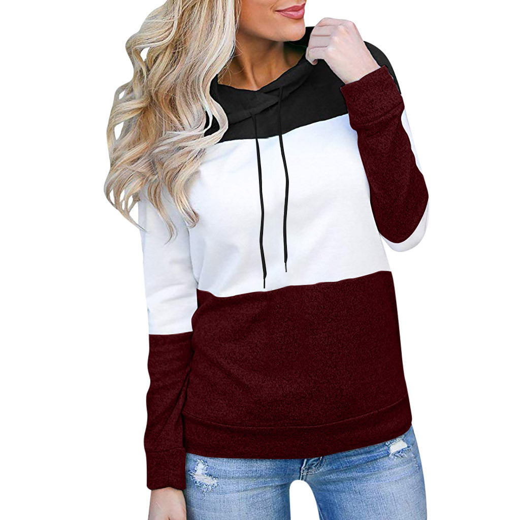 Women Patchwork Hoodies Sweatshirt Ladies Fashion Pullover Tops Long Sleeve Harajuku Sweatshirt Womens Top Drawstring Sweatshirt