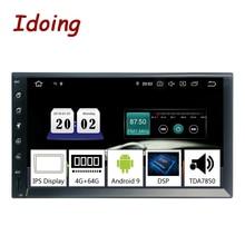 "Idoing 2din 7 ""px5 4g + 64g octa núcleo universal carro gps player de rádio android 9.0 ips tela navegação multimídia bluetooth tda7850"