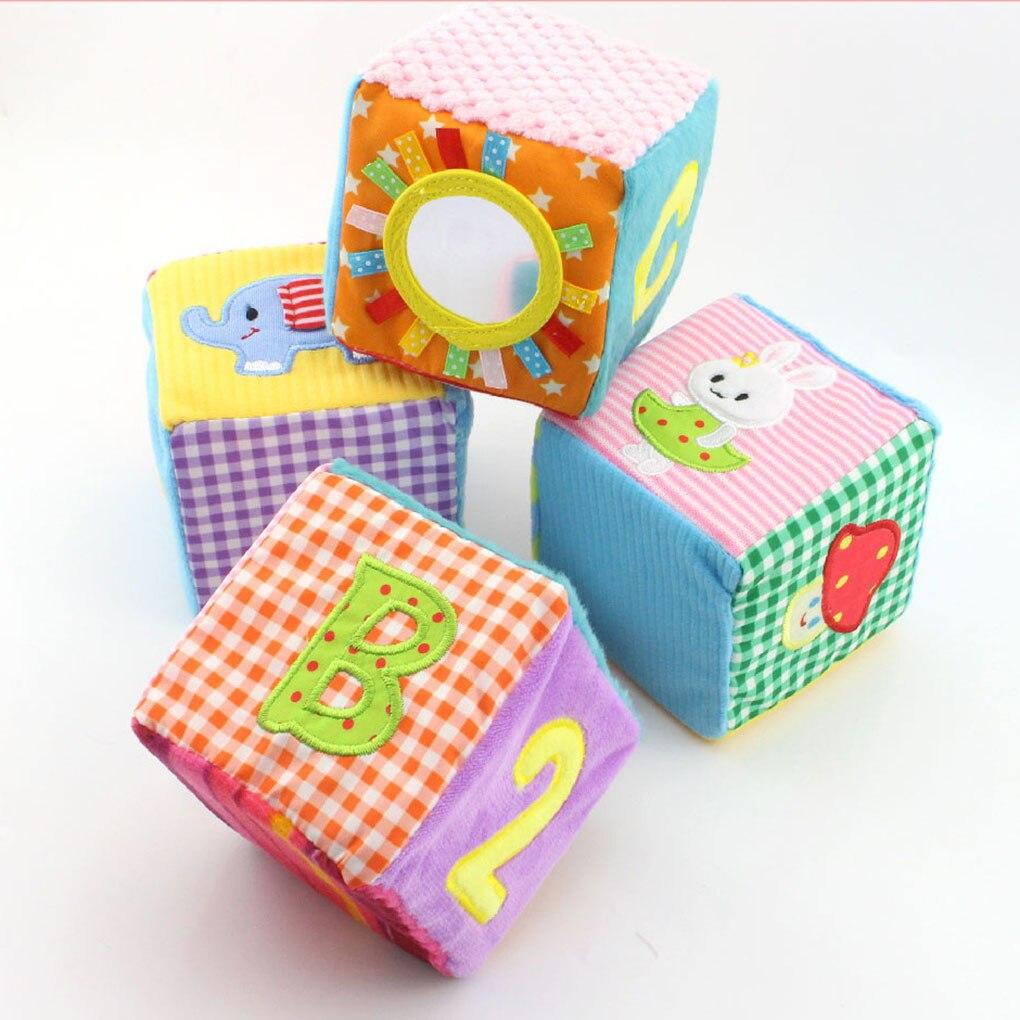 4pcs/set Happy Monkey Cloth Building Blocks Infant Baby Cloth Doll Soft Rattle Baby Toy Soft Plush Set Cube Baby Toy Plush Cube