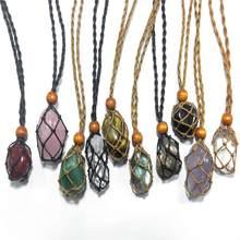 Porte-collier cordon vide en pierre Quartz naturelle, pierre brute, Chakra Point guérison, poisson en filet, amulettes indiennes, pendentif