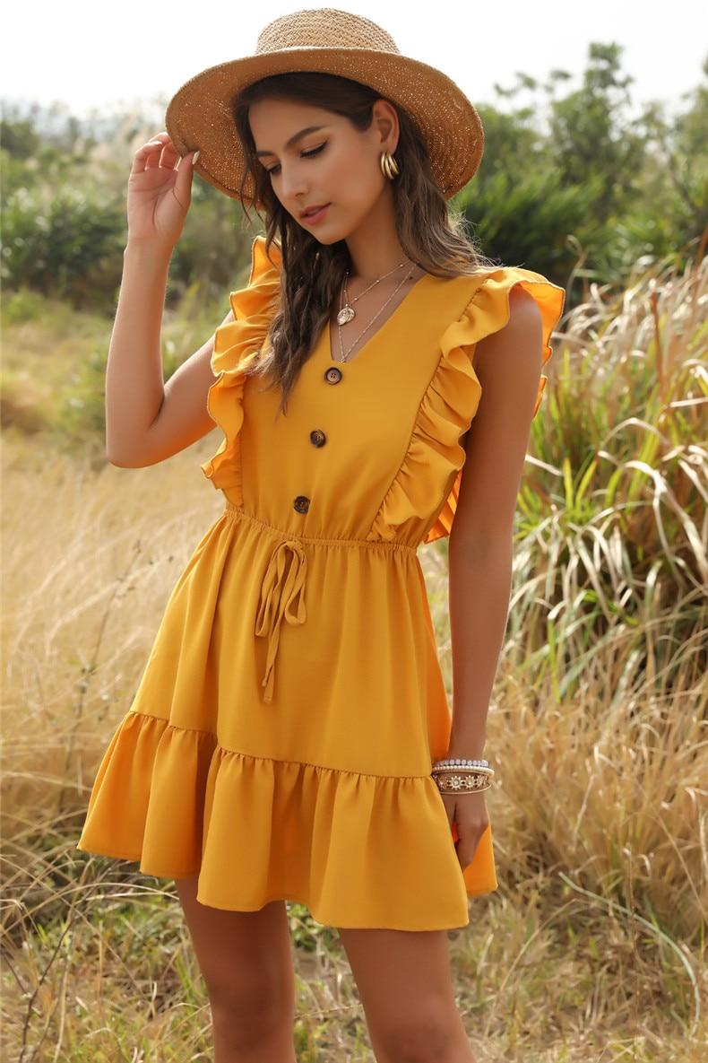 Ruffle Off Shoulder High Waist V Neck Casual Boho Beach Yellow Dress 33