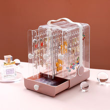 Jewlery Organizer Acrylic Box Storage Containers Plastic Case Bathroom Necklace Display Stand Desktop Dust-proof Earrings Holder