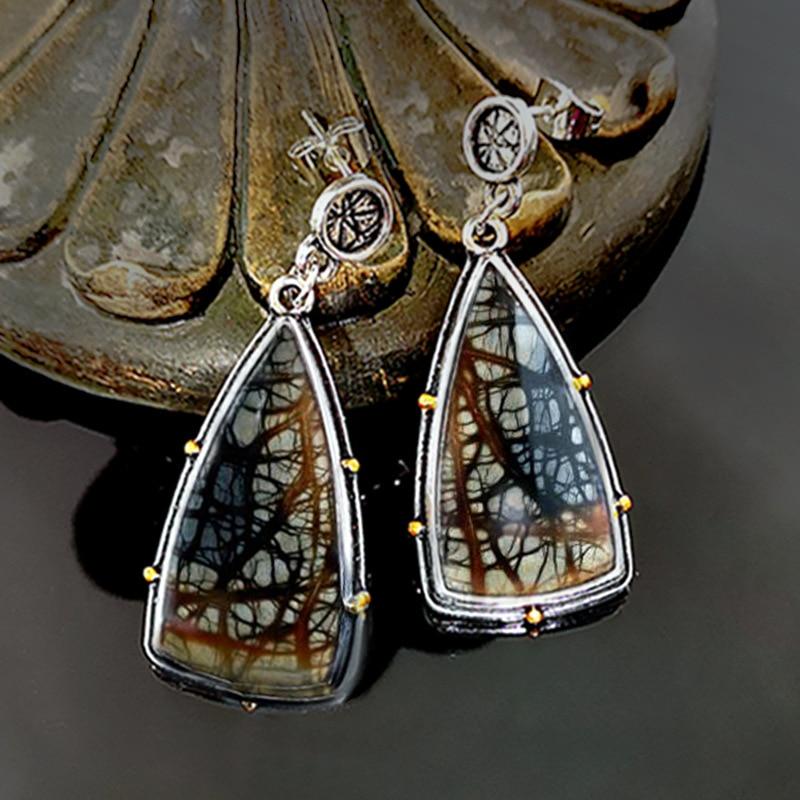 Винтажные серьги-подвески с геометрическим узором и камнем, античные серебряные длинные висячие серьги для женщин, этнические свадебные се...