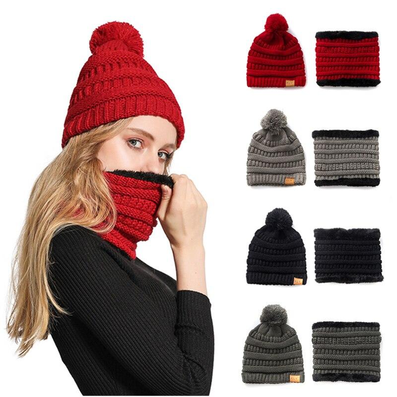 Parent-child Style Winter Thicken Warm Knit Acrylic Pompom Ball Beanies Cap + Velvet Scarf 2 Pieces Set  For Men Women  Children
